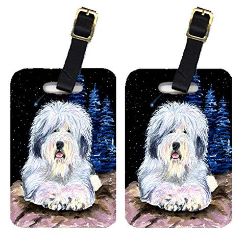 Caroline's Treasures SS8443BT Starry Night Old English Sheepdog Luggage Tags Pair of 2, Large,