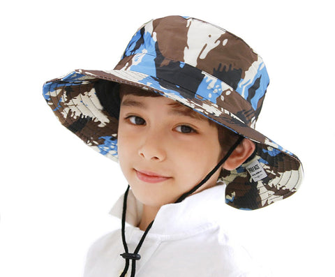 Kids Toddler Girls Boys Camo Bucket Hat Anti-UV Sun Protection Foldable Cotton Boonie Hat Holiday School Picnic Beach Travel Flat Sun Hat 1-4 Yrs