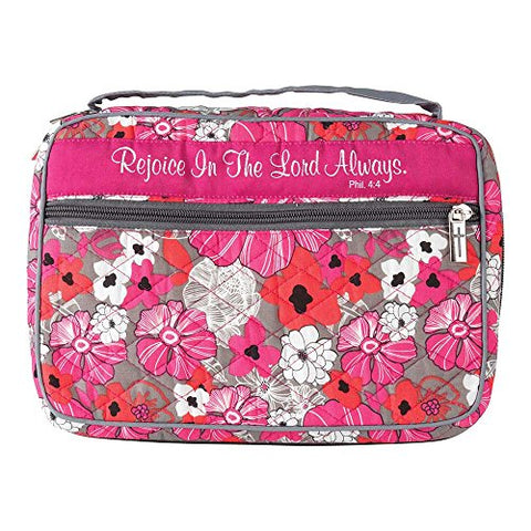 Rejoice In The Lord Pink Floral Quilted Cotton Large Print Bible Cover Case