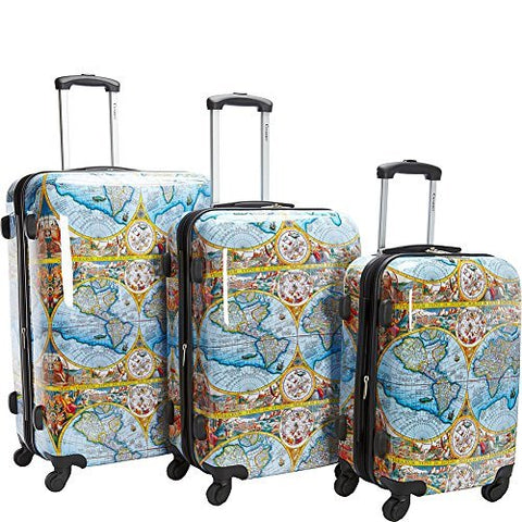 Chariot Orbis Terrarum Atlas 3-Piece Hardside Tsa Lock Spinner Luggage Set, Color Map