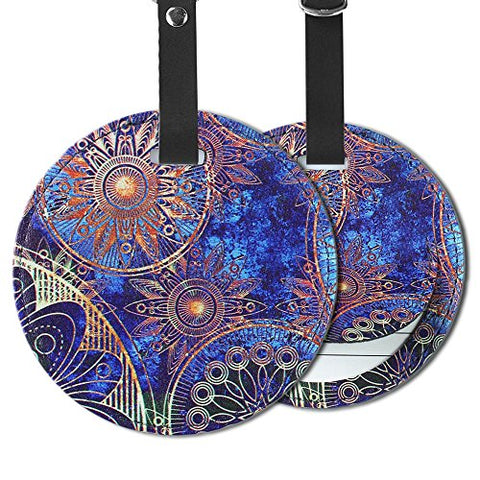Cheliz 2pcs Flower Compass Elephant Luggage Tags Suitcase Luggage Tags Travel Accessories Baggage