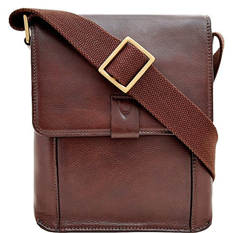 Hidesign Aiden Small Leather Messenger Cross Body Bag, Brown