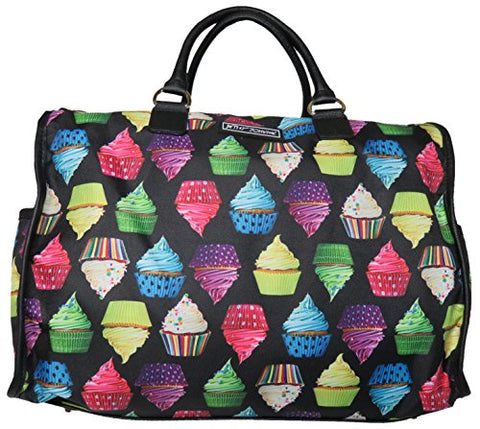Betsey Johnson Large Nylon Weekender Duffel Bag, Black/Cupcakes