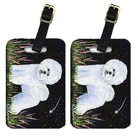 Caroline's Treasures SS8143BT Pair of 2 Bichon Frise Luggage Tags, Large, multicolor