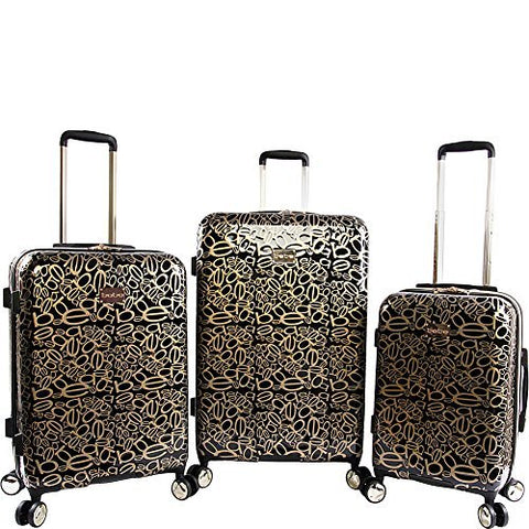 BeBe Women's Annabelle 3 Piece Set Suitcase with Spinner Wheels, Black/Gold