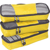 eBags Slim Packing Cubes for Travel - Organizers - 3pc Set - (Canary)