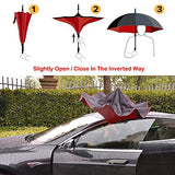 Amago Inverted Umbrella - Reverse Double Layer Long Umbrella, C-Shape Handle & Self-Stand To