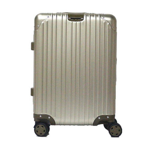 Boarding Suitcase, Aluminum-Magnesium Alloy Trolley Case, Durable Pc Luggage Case, With Tsa Lock Rotating Wheels, Gold, 20 inch