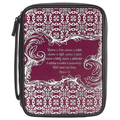True Noble Admirable Burgundy Damask Medium 9 x 6.5 inch Vinyl Womens Bible Cover Case