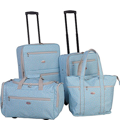 American Flyer Greek Key 4-Piece Rolling Luggage Set, Turquoise