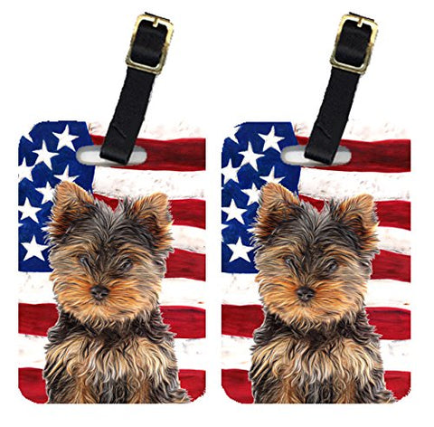 Caroline'S Treasures Kj1160Bt Pair Of Usa American Flag With Yorkie Puppy / Yorkshire Terrier