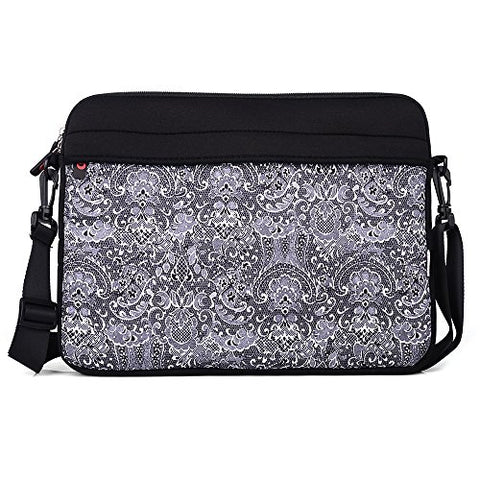 "Kroo 13.3"" Neoprene Messenger Bag Sleeve With Removeable Shoulder Straps For Laptops, Black"