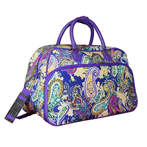 "World Traveler 21"" Carry-on Shoulder Tote Duffel Bag, Blue Multi Paisley, One Size"