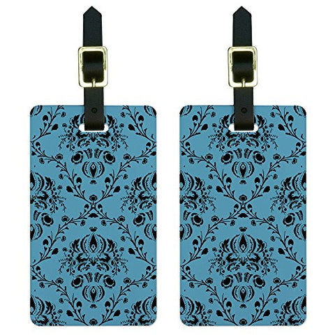 Graphics And More Damask Elegant Blue Black Luggage Tags Suitcase Carry-On Id Set Of 2