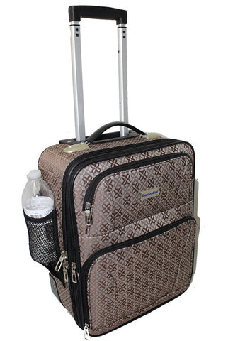 BoardingBlue Rolling Personal Item Luggage Under Seat for the Airlines of American, Frontier, Spirit (Brown)