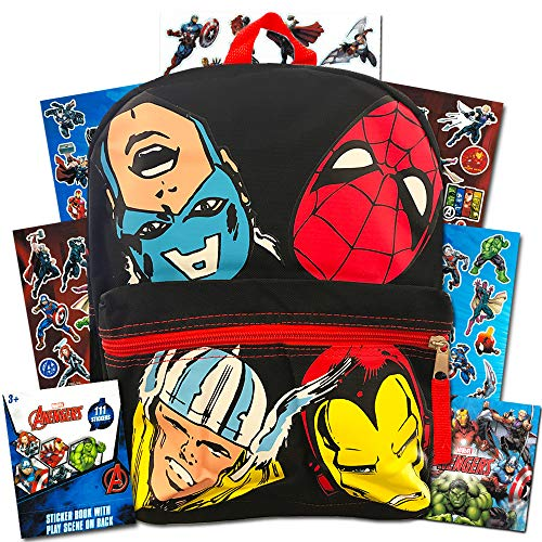 Marvel Avengers Mini Backpack Toddler Preschool --11 Inch Super Hero Backpack with Stickers, Featuring Thor, Iron Man, Captain America and Spiderman (Avengers School Supplies)