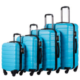 COOLIFE Luggage 4 Piece Set Suitcase Spinner Hardshell Lightweight TSA Lock (Family Set-Sky Blue)