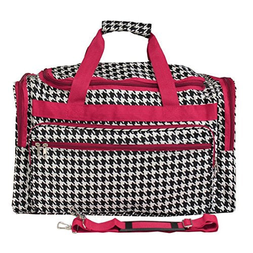 World Traveler Houndstooth 22-inch Travel Duffle Bag, Fuchsia Trim Houndstooth