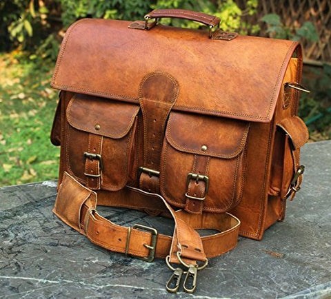 Men's Genuine Leather Vintage Laptop Messenger Handmade Briefcase Bag Satchel By Vintage Couture