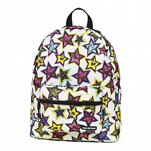 Yak Pak Colorful Stars Canvas Backpack Sports School Travel Pack