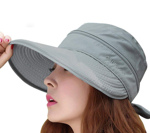 Women's 2 in 1 Anti UV Beach Sun Hat Golf Cap Tennis Cycling Fishing Cap Removable Top Cover Open-top Wide Brim Sunhat Shapeable Peaked Floppy Travel Bucket Cap Sun Visor UPF 50+