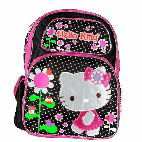 "Hello Kitty Flowers Black/Pink Backpack 17"" School Bag Bp-5281"
