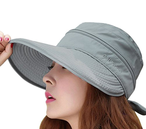 Womens 2in1 Wide Brim Summer Folding Anti-UV Golf Tennis Sun Visor Cap Beach Hat, Grey, OS