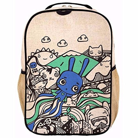 SoYoung Grade School BackPack - Raw Linen, Eco-Friendly, Non-Toxic, Retro-Inspired Design - Pixopop Flying Stitch Bunny