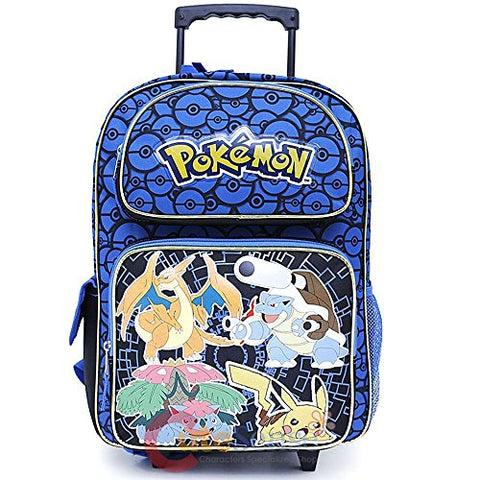 "Pokemonpokemon Large School Backpack 16"" Book Bag Ivysaur Charizard Blastoise (Rolling)"