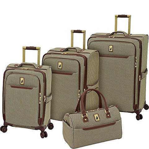 "London Fog Cambridge II 4 Piece Set (Satchel, 20"", 25"", 29""), Olive Houndstooth"