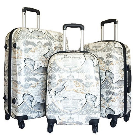 3Pc Luggage Set Hardside Rolling 4Wheel Spinner Upright Carryon Travel Poly Globe