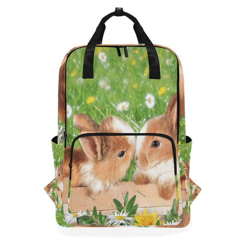 Backpack Two Cute Rabbits In The Garden Laptop Bag 14 Inch Lightweight for Men/Women