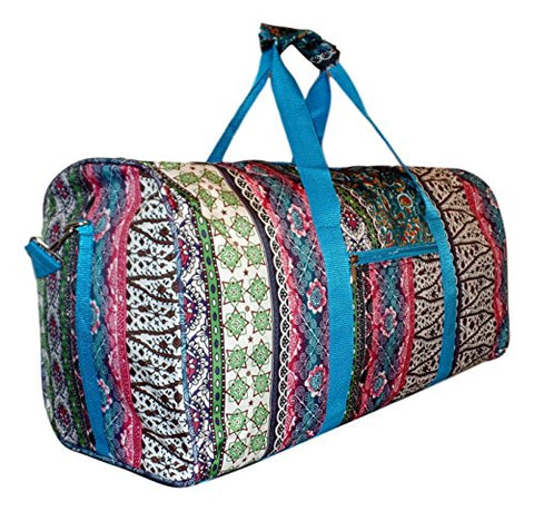 21 In Print Duffle, Overnight, Carry On Bag With Outside Pocket And Shoulder Strap (Blank - Boho
