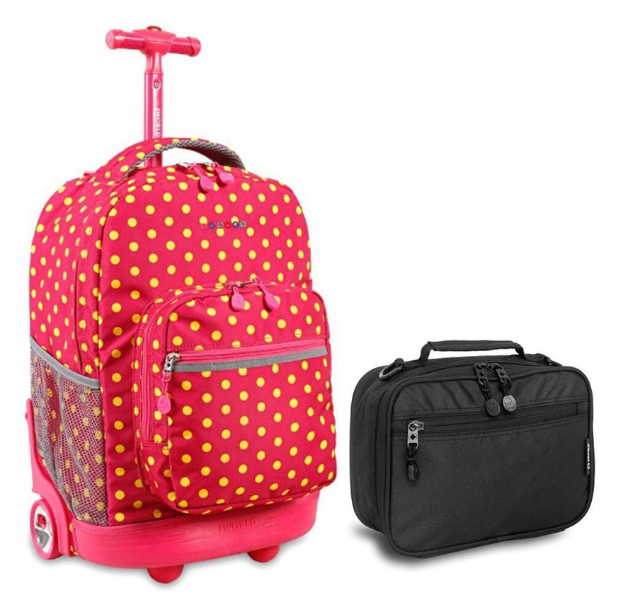 J World Pink Buttons Sunrise Roller Backpack Back Pack and Black Cody Lunch Bag Bundle Set