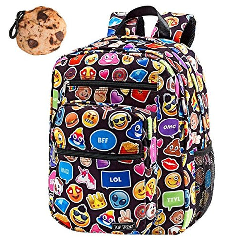 Emoji Funky Black Large Backpack & Cookie Clip Multi-Pack, Book Bag, School Bag