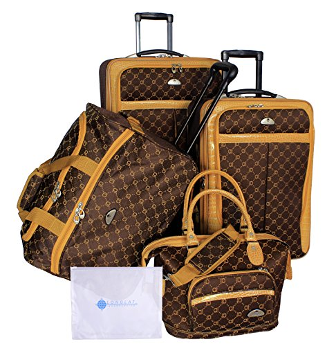 American Flyer Clair 5-Piece Luggage Set, Chocolate Gold