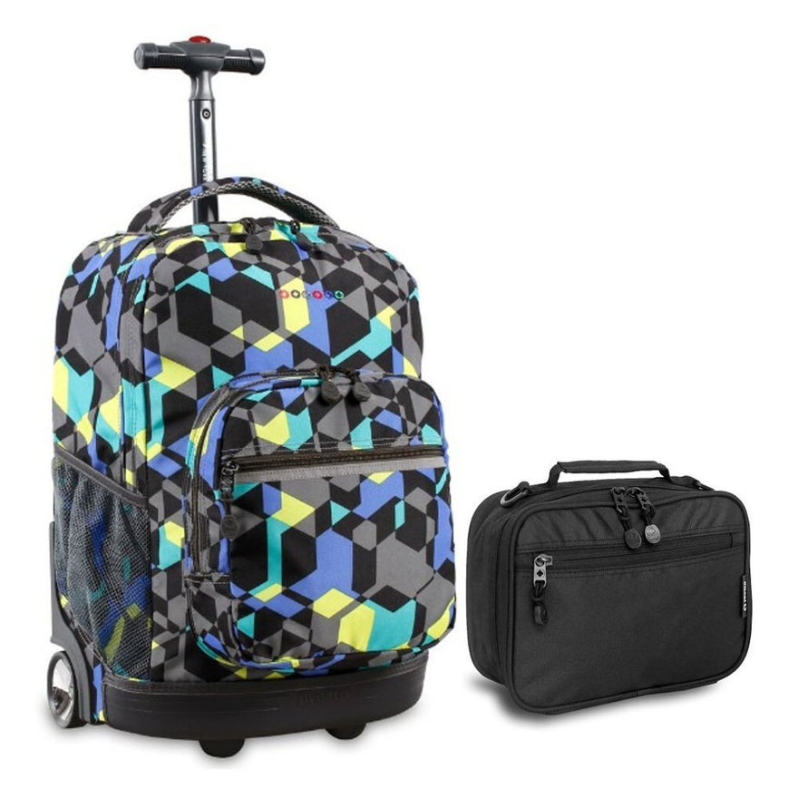 J World Cubes Sunrise Roller Backpack Back Pack and Black Cody Lunch Bag Bundle Set