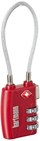 Hartmann Combination Cable Lock, Red, One Size