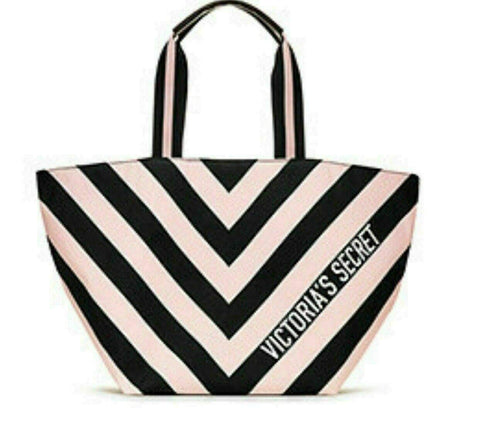 Victoria's Secret Tote Bag Pink Black Striped, Stripe Duffle Pink