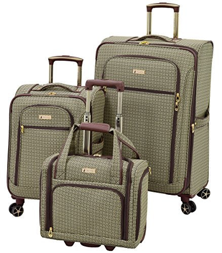 London Fog Softside 3 Piece Set, Tan Square Jacquard