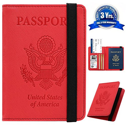 Passport Holder Cover Wallet Case - DESERTI BRANDS Leather RFID Blocking For Women Men - Red