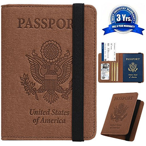 Passport Holder Cover Wallet Case - DESERTI BRANDS Leather RFID Blocking For Women Men - Brown
