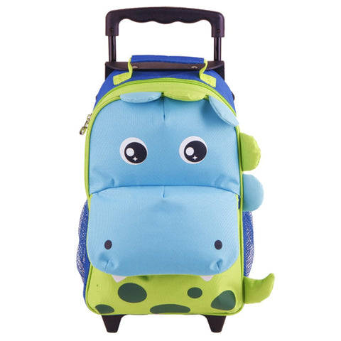 Yodo Zoo 3-Way Toddler Backpack with Wheels or Little Kids Rolling Luggage, with Front Pouch and Side Bottle Holders, for toddler boys and girls, Dinosaur