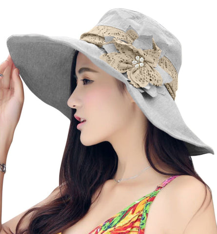 FakeFace Women's Anti-UV Sun Protective Wide Brim Floppy Floral Sun Hat UPF 50+