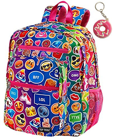 Emoji Funky Pink Large Backpack & Keychain Multi-Pack, Book Bag, School Bag
