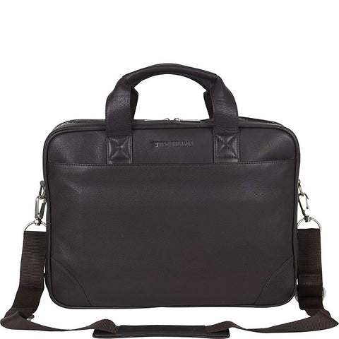 "Ben Sherman Karino Leather 15"" Laptop Business Case Briefcase, Brown One Size"