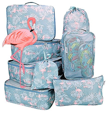 Packing Cubes 8pcs Backpack Organizers Set for Carry on Travel Bag Luggage Cube (Flamingo Blue 8pcs)