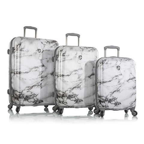 Heys America Colour Herringbone Fashion Spinner 3-Piece Set (White Marble)