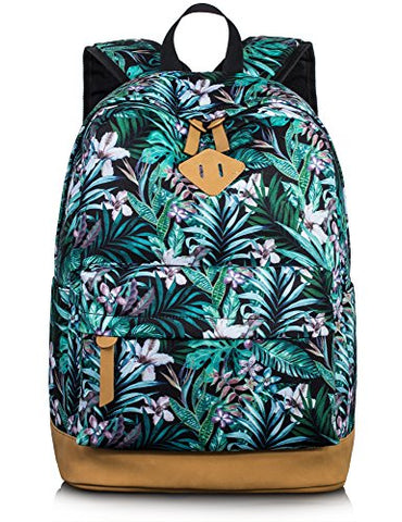 Bookbag For Teens, Floral Backpacks College Laptop Daypack Travel Bags By Leaper (Large, Floral )