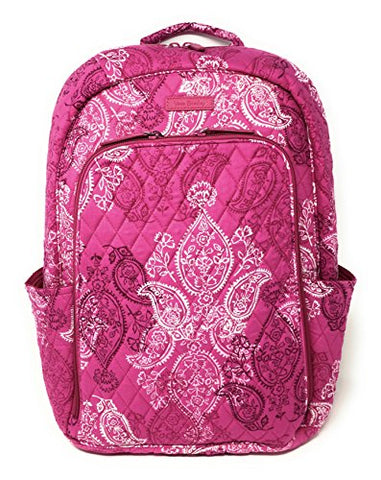 Vera Bradley Laptop Backpack (Updated Version) With Solid Color Interiors (Stamped Paisley With